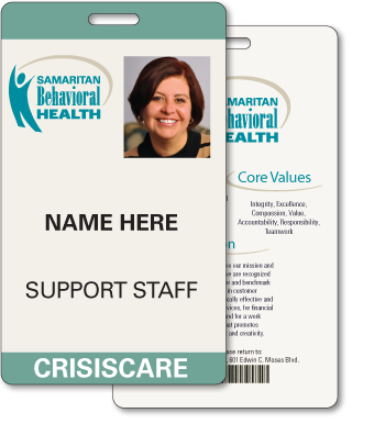 Plastic ID Badge With Personalized Information For Samaritan Behavorial Health