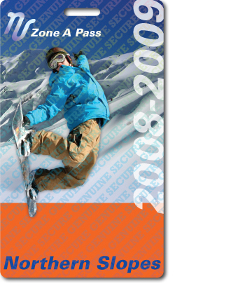 Northern Slope Ski Pass with holographic film