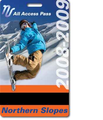 Northern Slope Ski Pass with barcode mask