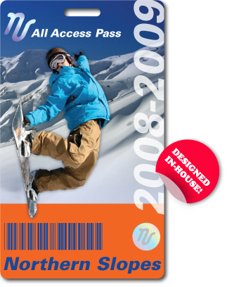 Ski Pass with printed hologram and barcode